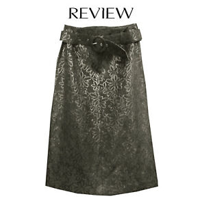 Daisy Embossed floral belted black Review skirt - Size 12