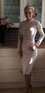 Bandage bodycon long sleeve sheer midi nude dress BNWT Small 8 The Dolls House