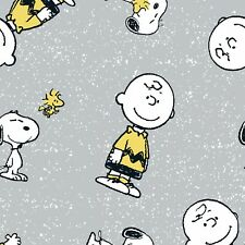 Fabric Peanuts Charlie Brown & Friends on Grey Cotton by the 1/4 yard