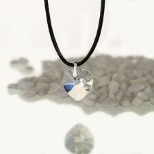 Halskette, Lederkette mit SWAROVSKI ELEMENTS Herz Farbe Moonlight