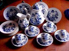 23ps Cobalt Blue Bird Crane Royal Worcester style Dessert Tea set