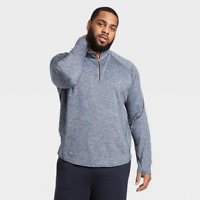MEN'S PREMIUM LAYERING QUARTER ZIP PULLOVER BLUE XL - ALL IN MOTION NEW W/ TAGS