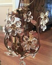VINTAGE STUNNING METAL TOLE GLASS FACET FLOWER PENDANTS CHANDELIER FROM FRANCE