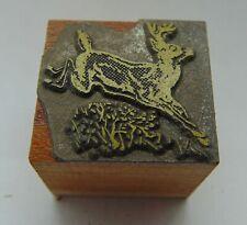 Printing Letterpress Printers Block Jumping Buck Deer Animal