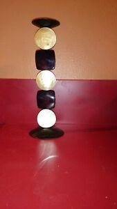 Candle Holder Black and White Made of Metal and Wood 12 Inches Tall