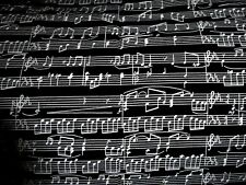 MUSICAL NOTES ON BLACK COTTON QUILT FABRIC - 1996