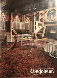 1974 Congoleum Cushioned Shinyl Vinyl & Carpet PRINT AD Red Room Fireplace