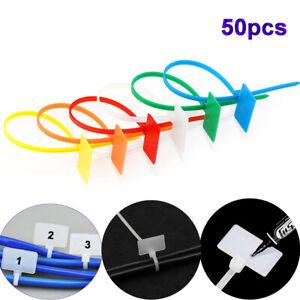 50pcs  4*150mm Loop Plastic Nylon Self-locking Wire Ties Labels Cable Winder Tag