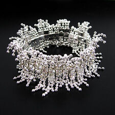 3.5cm Wide Unique Fringed Stretchy Wedding Prom Party Austrian Crystal Bracelet