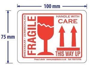 """100 White Fragile This Way Up Handle With Care Stickers Labels 4""""x3"""" White Red"""