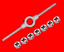 8 tlg. Gewindeschneideisen Set M3 - M12 inkl Gewindeschneider Werkzeug Halter TP