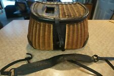 Peters Split Willow creel w/ floral design leather and shoulder strap