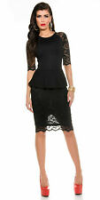 Womens Lace Peplum Dress 8 S Bodycon Wiggle Pencil Midi Cocktail Evening Party