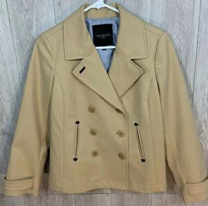 Talbots Petite Medium Tan Pea Coat Jacket Lightweight Career Size 8P Dressy