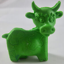 McDonald's Animal Riddles Happy Meal Test - Green Rubber Cow - 1979