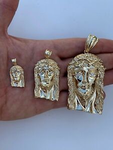 Solid 14k Yellow Gold VS Natural Diamond Icy Jesus Piece Pendant Italy Handmade