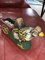Vintage Easter Chicken Pulling Cart Wagon Of Eggs Figurine