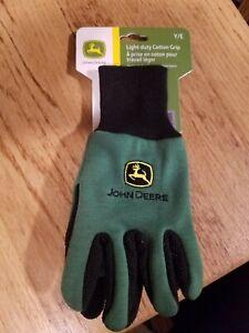 John Deere KIDS YARD GARDEN GLOVES Y/E Light-Duty Cotton Grip NEW! green/black
