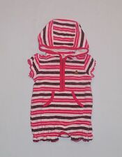 Baby Gap Hooded Terry Cloth Pink Striped Short Romper Swim Cover Up, NB 0-3 mos.