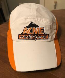 Ultralite Headsweats Hat Unisex White/orange Woven Coolmax Event Race Gear NWT