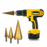 3pc HSS Spiral Grooved Step Cone Drill Bit 4mm to 12mm 20mm 32mm Cutter Tool Set