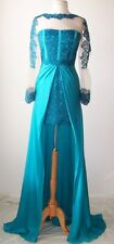 BLUMARINE Blue Lace Embroidered Sheer Tulle Split Dress Gown 42 4 6