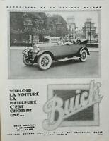 PUBLICITÉ DE PRESSE 1926 AUTOMOBILES BUICK 6 CYLINDRES 17 et 22 HP