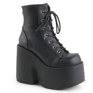 Demonia Womens Camel-203 Boots Black Ankle Vegan Punk Goth Wedge Platform