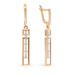 Earrings Rose Gold 14K Russian fine jewelry zirconia 585 2.89g NEW with tag long