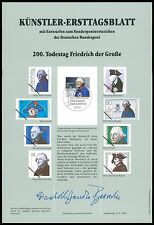 BUND KÜNSTLER-ETB 1986 FRIEDRICH DER GROßE / ALTE FRITZ SELTEN !! z1783