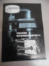 TORNO MECANICO NARDINI FADON STEREOMATIC II Vintage Lathe Tool Catalog Brochure