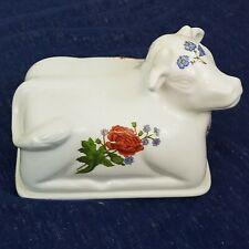 Bia Cordon Bleu Floral Porcelain Double Butter Cheese Dish Lid Figural Cow
