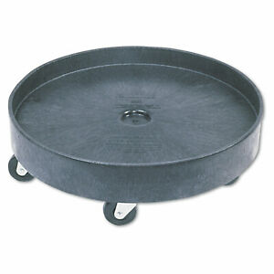 Rubbermaid Commercial Brute Container Universal Drum Dolly 500lb Black 2650BLA