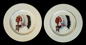 2 VINTAGE LENOX CHINA PORCELAIN NATIVE AMERICAN INDIAN CHIEF HARRY HELD PLATES