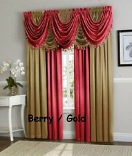 Hyatt luxury Window Curtain, Royal Velvet, complete 9 pc set -4 panel 5 valance