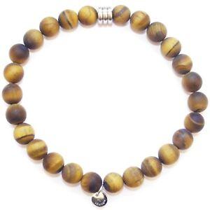 TATEOSSIAN Men's Tiger's Eye Beaded Bracelet *£125 RRP* Matte Brown Round Beads
