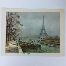 Vtg Mid Century Paris Print Eiffel Tower Bridge Mcm