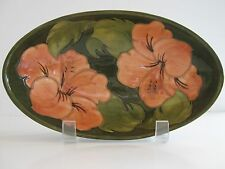 "Vintage Walter Moorcroft Pottery Coral Hibiscus on Green Oval Bowl 9"" ~5.25"" ~2"""