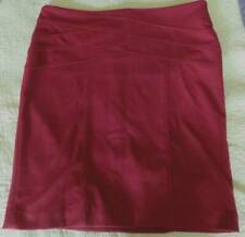 SHARAGANO Wine Red Pencil SKIRT Ladies Sz 16 Zip Back Bias Front Accent