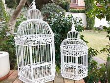 A Set of 2 Iron Handmade Ornamental Bird Cage Wedding Wishing Well WHITE HYL016