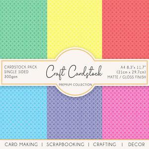 Diamond Check Patterned 300gsm Scrapbooking Wedding Journaling Craft Cardstock