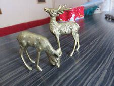 VINTAGE HEAVY PAIR OF BRASS DEER/FAWN FIGURES - FOR GREYHOUND RESCUE