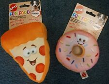 Fun Food Plush Dog Toys - Pizza or Donut for Small and Medium Dogs