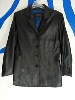 WILSONS LEATHER PELLE STUDIO BLACK JACKET BUTTON UP COAT LINING WOMEN'S XLARGE