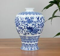 Jingdezhen Blue and White Ceramic Vase Decoration Chinese Antique Reproduction
