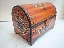 Vintage Collectible Rare Hand Crafted Wooden Lacquer Colorful Painted Box