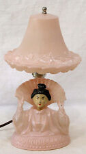 Vintage Pink Depression Glass Lamp Asian Lady NODDER with Fan 1930s NICE!
