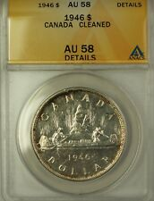 1946 Canada Silver $1 Coin King George VI ANACS AU-58 Cleaned