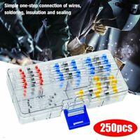 250tlg Lötverbinder Schrumpfschlauch Stoßverbinder Kabelverbinder Sortiment Kit