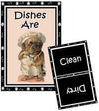 DOG DISHWASHER MAGNET (Pug Dog The Chef) - Clean/Dirty *Ship FREE
